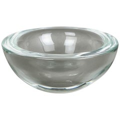 New Old Stock, Murano Heavy Clear Glass Shell Bowl, by Gino Cenedese Italy, 1960