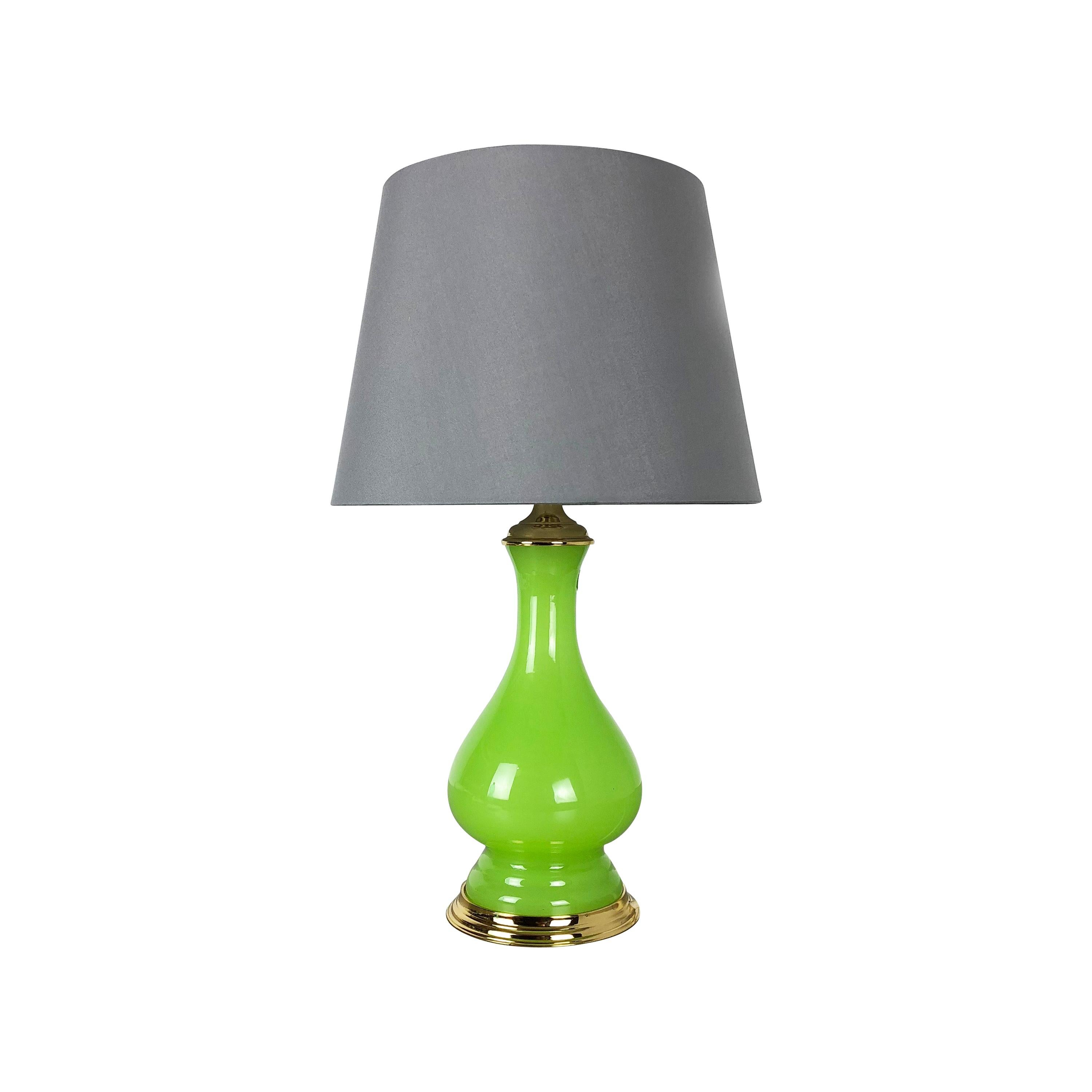 """New Old Stock, Opaline Murano Glass """"Green"""" Table Light by Cenedese Vetri, 1960s"""