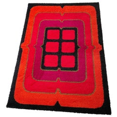 "New Old Stock Wool Rya Rug Tapestry ""POP ART"" Hojer Eksport Wilton 1970s Denmark"