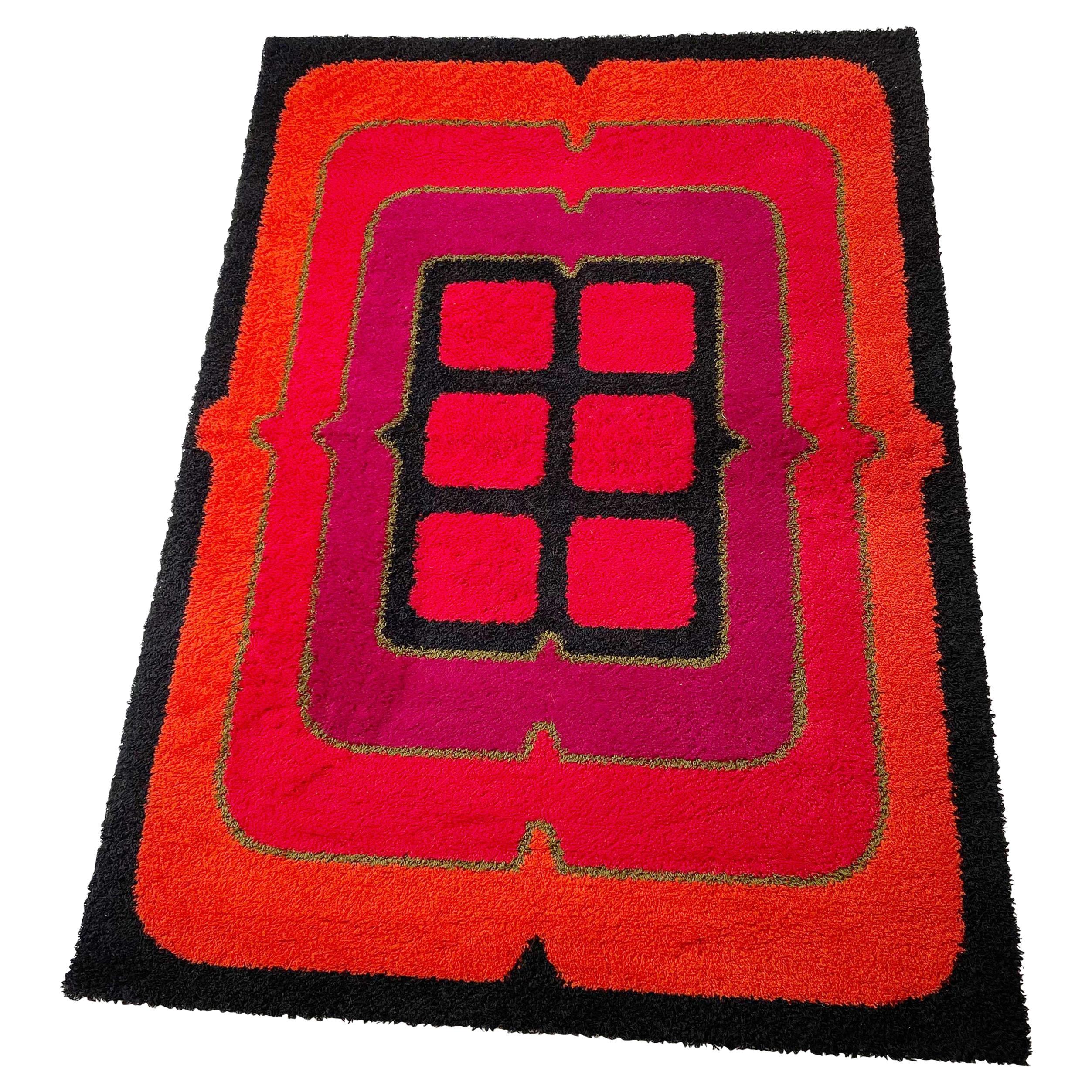 """New Old Stock Wool Rya Rug Tapestry """"POP ART"""" Hojer Eksport Wilton 1970s Denmark"""