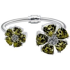 New Olive Peridot Blossom Large Mixed Stone Hinge Bracelet