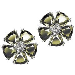 New Olive Peridot Blossom Large Stone Stud Earrings