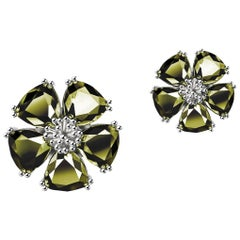 New Olive Peridot Blossom Mixed Stone Stud Earrings