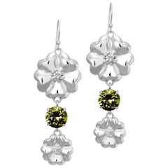 New Olive Peridot Double Blossom Circle Strong Dangles