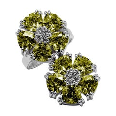 New Olive Peridot Double Blossom Stone Ring