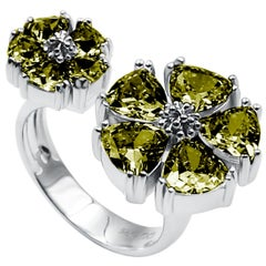 Olive Peridot Mixed Blossom Stone Open Ring