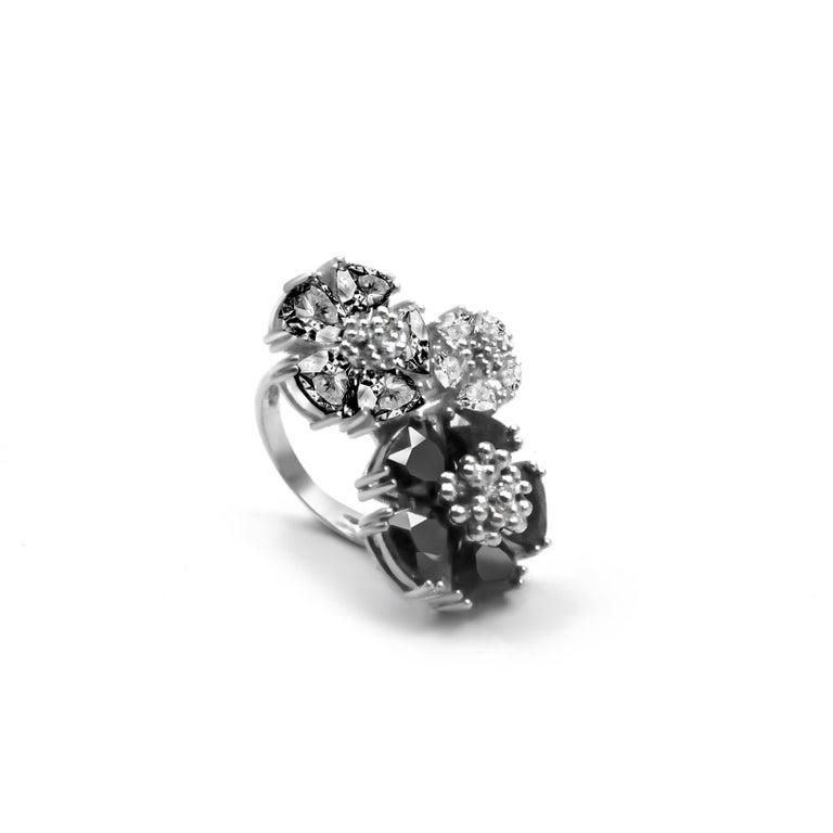 Trillion Cut Olive Peridot, Peridot and White Topaz Trifecta Blossom Stone Ring For Sale