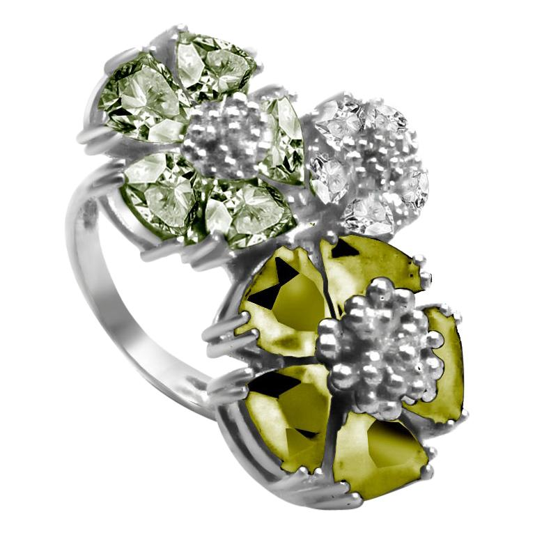 Olive Peridot, Peridot and White Topaz Trifecta Blossom Stone Ring For Sale