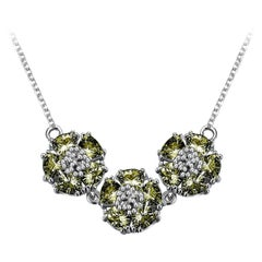 New Olive Peridot Triple Blossom Gentile Necklace