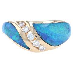 New Opal & Diamond Kabana Ring, 14k Yellow Gold Round Brilliant .25ctw