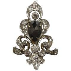 New Orleans Fleur de Lis Black and White Diamond Tiara Ring