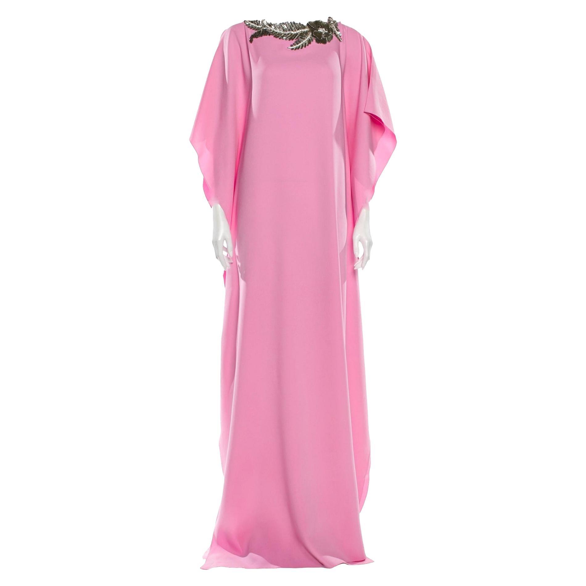 New Oscar De La Renta 2020 Pink Silk Jeweled Caftan Kaftan Dress $4090 W Tags S