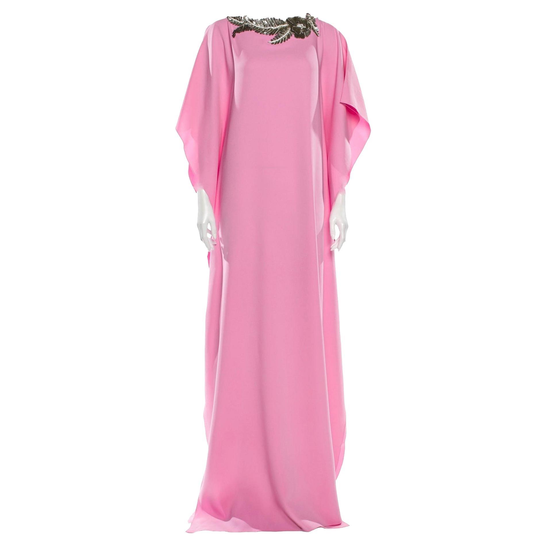 New Oscar De La Renta 2020 Pink Silk Jeweled Caftan Kaftan Dress $4090 W Tags XS