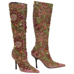 New Oscar De La Renta F/W 2004 Hand Painted Embroidered Boots 36.6 - US 6.5