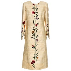 New Oscar De La Renta Fall 2018 Silk Embroidered Coat Jacket $4400
