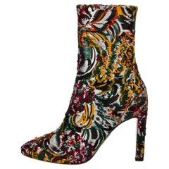 New Oscar De La Renta Fall 2019 Brocade Booties Boots Size 38.5 $1525