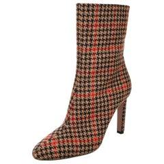 New Oscar De La Renta Fall 2019 Kendall Jenner Plaid Booties Boots Size 39 $1525