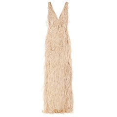 New Oscar De La Renta Ostrich Feather and Crystal-Embellished Tulle Beige Gown 8