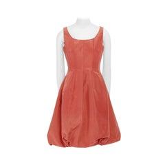 new OSCAR DE LA RENTA R12 coral pink 100% silk bubble skirt cocktail dress US4