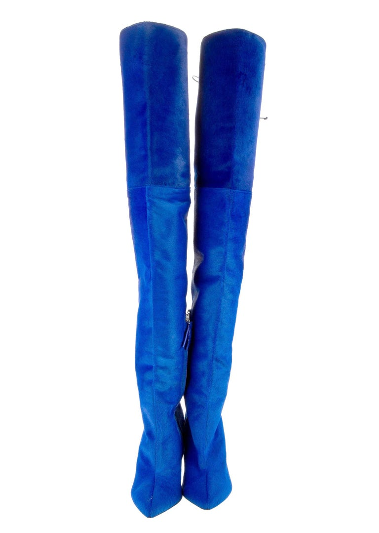 New Oscar De La Renta Blue Over the Knee Boots F/W 2017 Runway Collection Designer size 38 - US 8 Calf Hair, Lace-Up Adjustable Top with Leather Cord, Fully Lined in Blue Color Leather, Partly Zip Closure. Height - 30 inches (76 cm ), Stiletto Heel