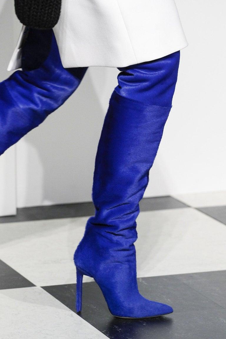 New Oscar De La Renta Runway F/W 2017 Blue Calf Hair Over the Knee Boots 38 US 8 For Sale 2
