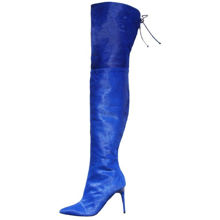 New Oscar De La Renta Runway F/W 2017 Blue Calf Hair Over the Knee Boots 38 US 8 For Sale