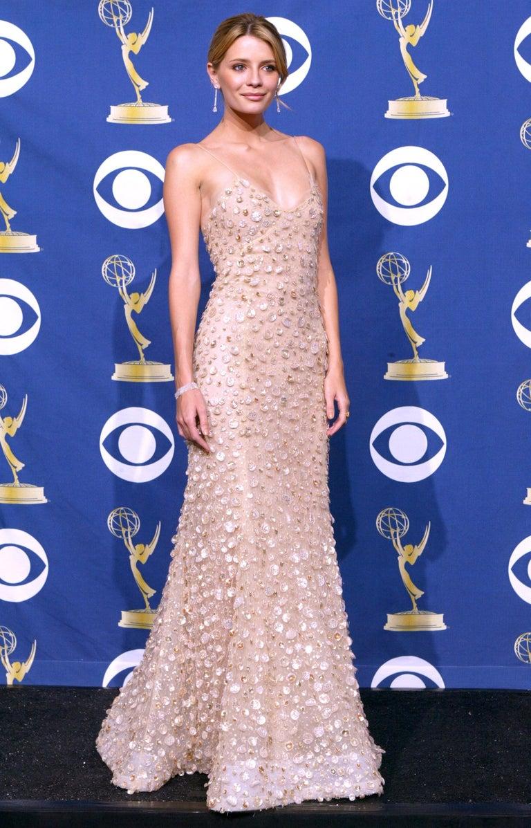 New Oscar de la Renta SS 2006 Runway Red Carpet Nude Sequin Embellished Gown 6 8 For Sale 6