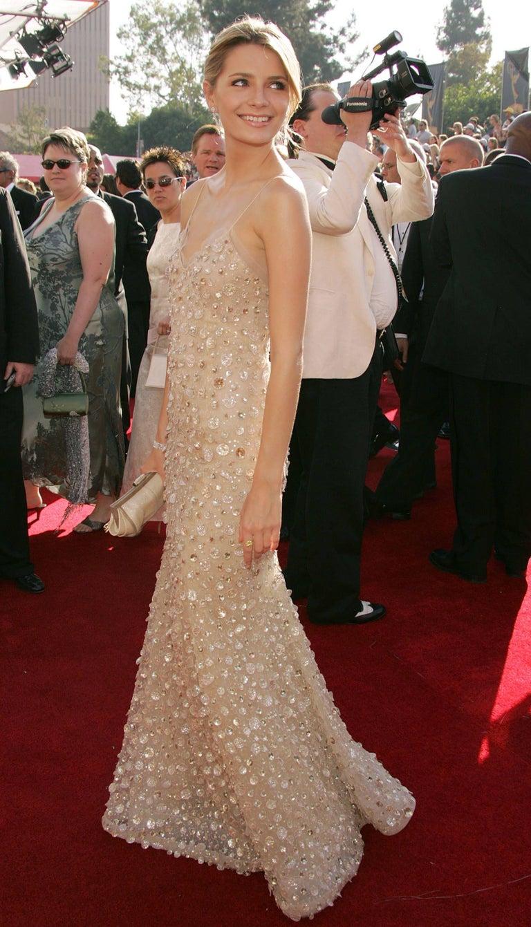 New Oscar de la Renta SS 2006 Runway Red Carpet Nude Sequin Embellished Gown 6 8 For Sale 8