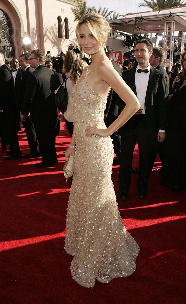 New Oscar de la Renta SS 2006 Runway Red Carpet Nude Sequin Embellished Gown 6 8 For Sale 9