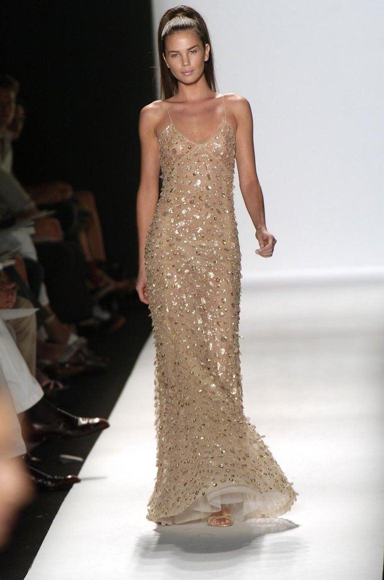 Beige New Oscar de la Renta SS 2006 Runway Red Carpet Nude Sequin Embellished Gown 6 8 For Sale