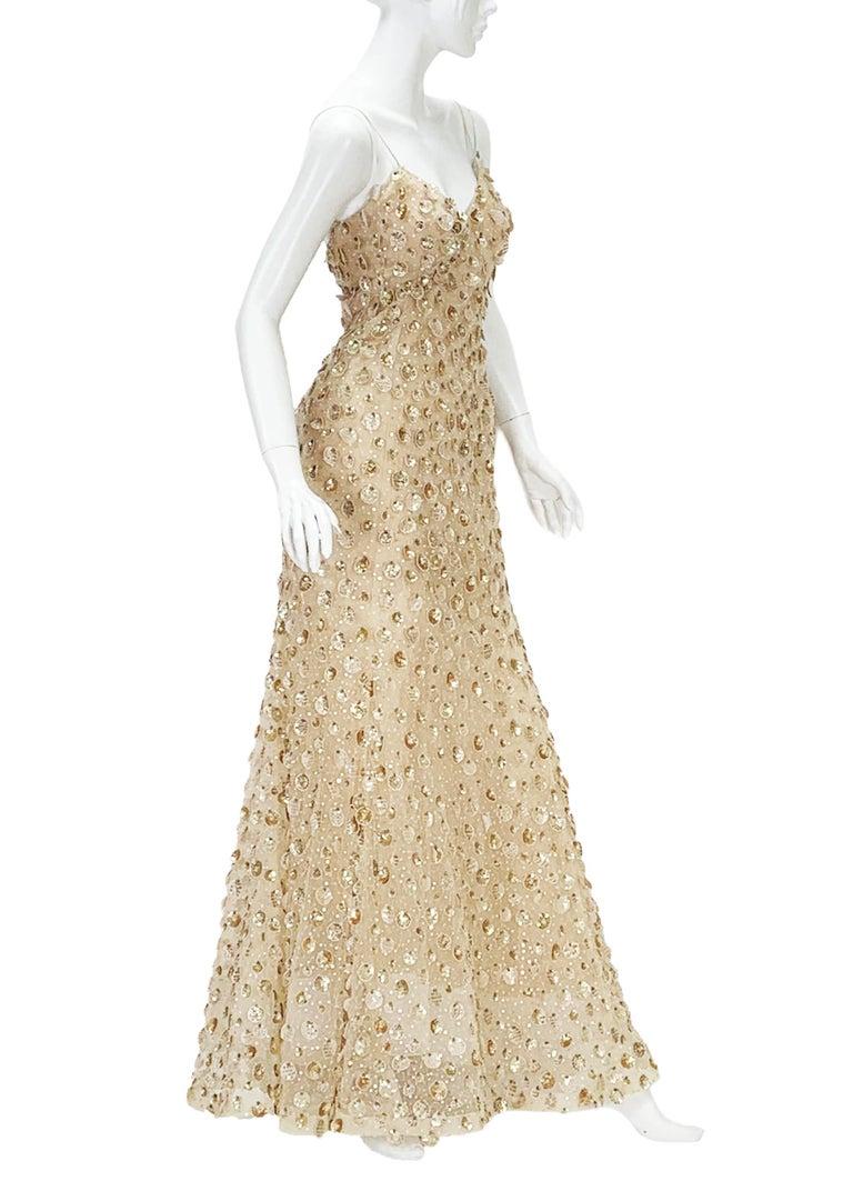 Women's New Oscar de la Renta SS 2006 Runway Red Carpet Nude Sequin Embellished Gown 6 8 For Sale