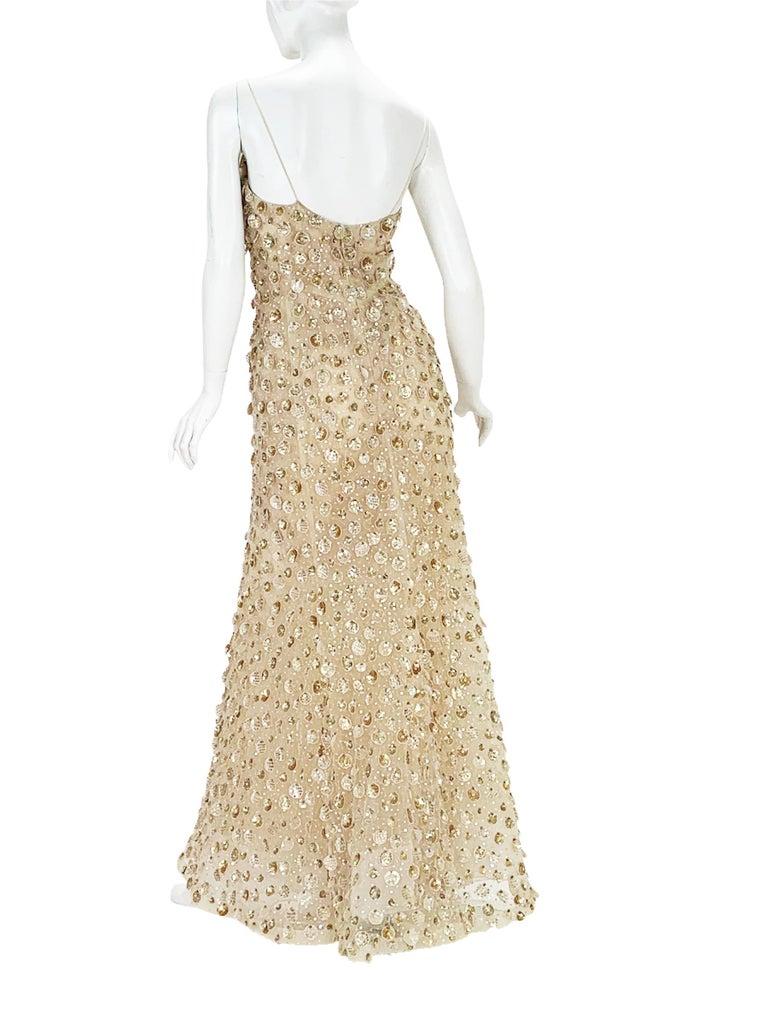 New Oscar de la Renta SS 2006 Runway Red Carpet Nude Sequin Embellished Gown 6 8 For Sale 1