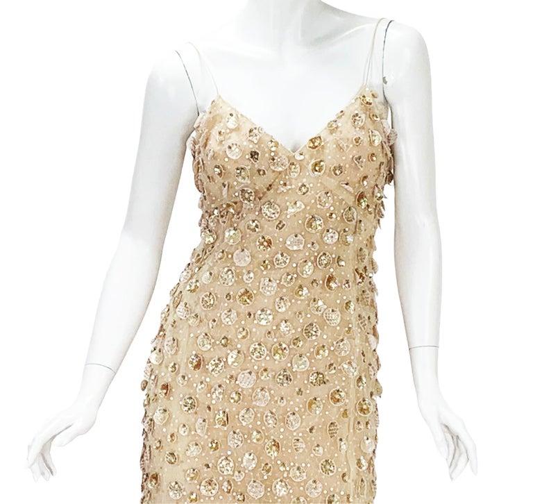 New Oscar de la Renta SS 2006 Runway Red Carpet Nude Sequin Embellished Gown 6 8 For Sale 2