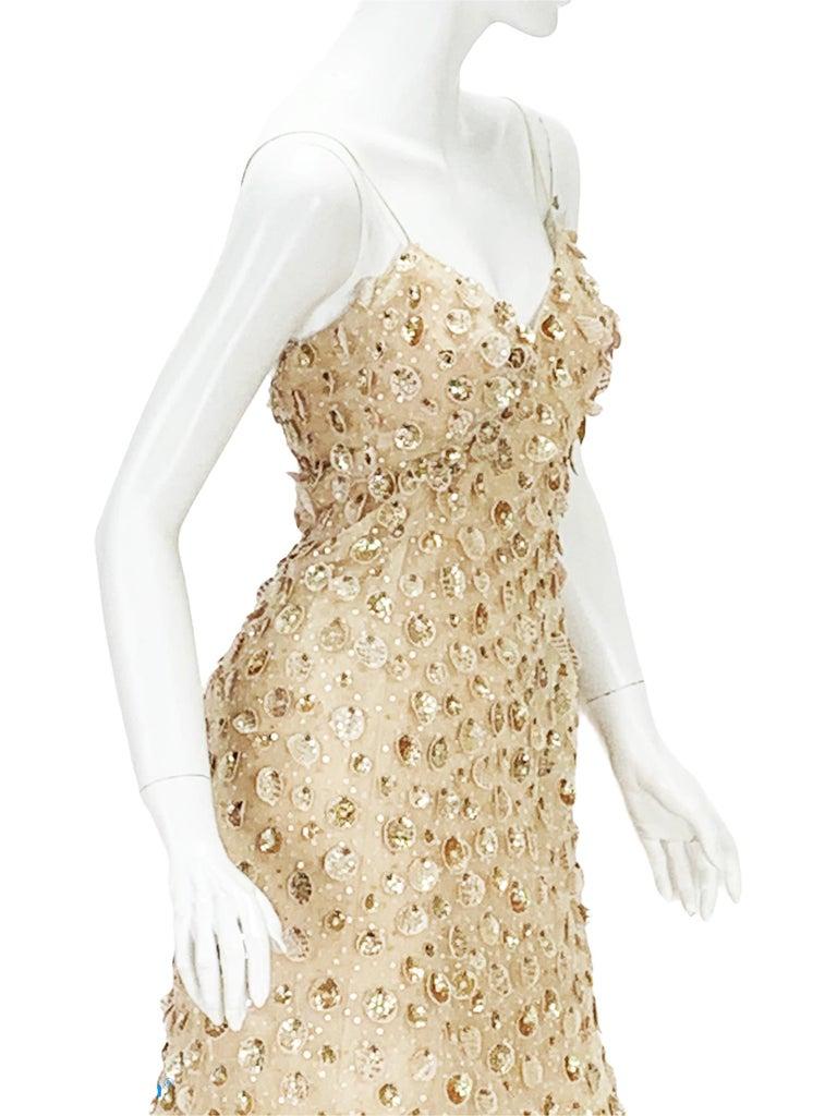 New Oscar de la Renta SS 2006 Runway Red Carpet Nude Sequin Embellished Gown 6 8 For Sale 3
