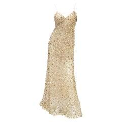 New Oscar de la Renta S/S 2006 Runway Red Carpet Nude Sequin Embellished Gown 6
