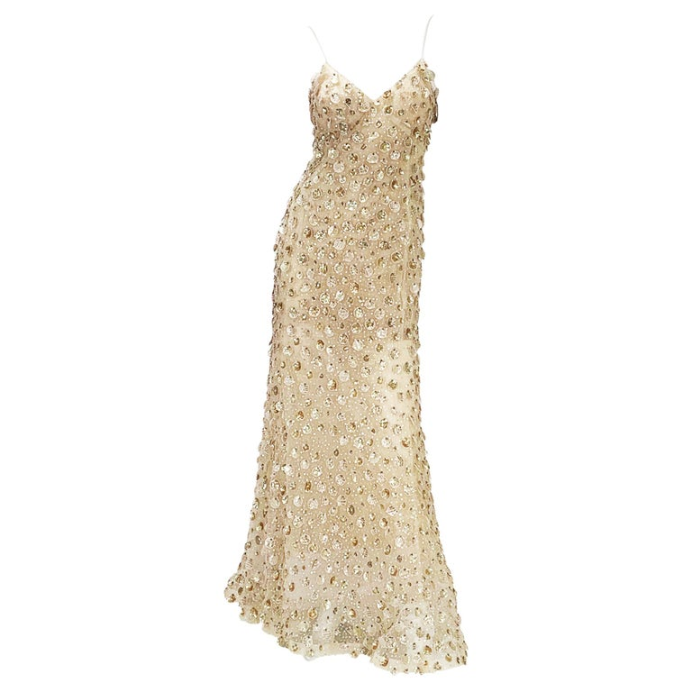 New Oscar de la Renta SS 2006 Runway Red Carpet Nude Sequin Embellished Gown 6 8 For Sale