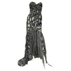 New Oscar de la Renta S/S 2008 AD Campaign Silk Pheasant Feather Dress Gown US 8
