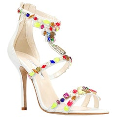 New Oscar De La Renta *Simona* White Jeweled Embellished Leather Sandals 38