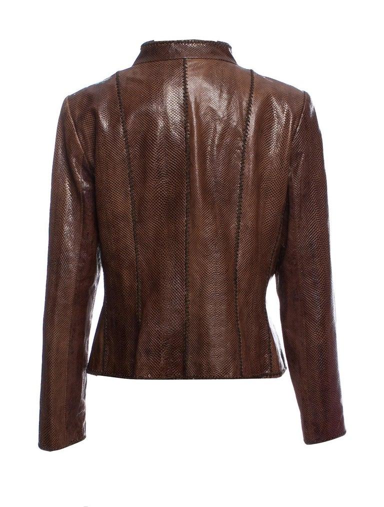 Black New Oscar De La Renta Snakeskin Jacket Coat 4/6 $2650 For Sale