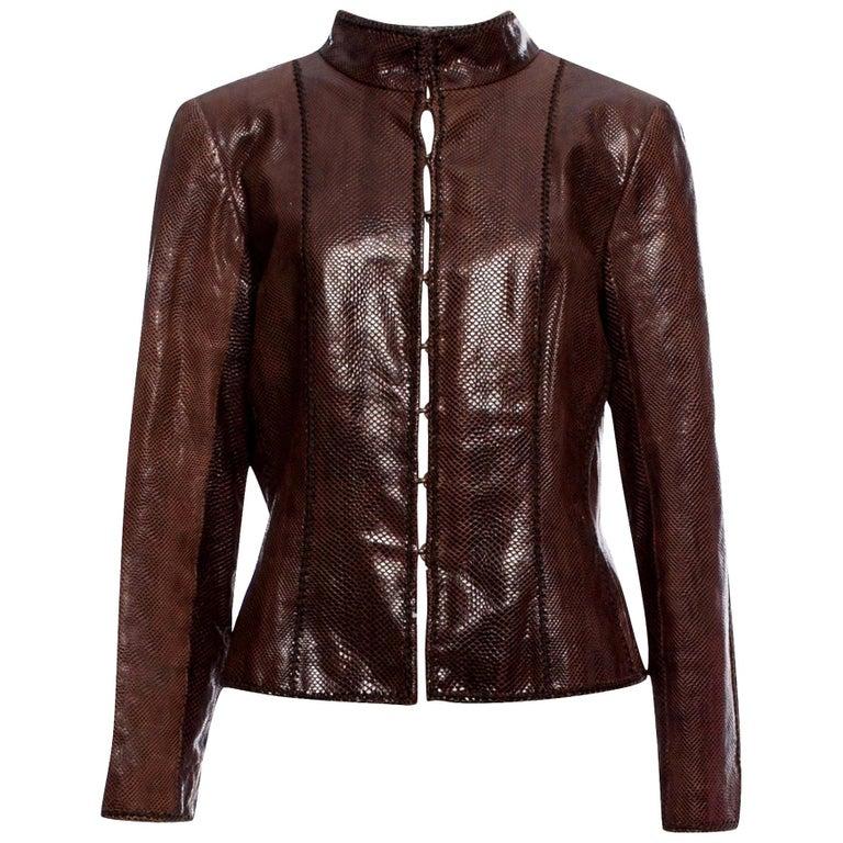 New Oscar De La Renta Snakeskin Jacket Coat 4/6 $2650 For Sale