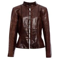 New Oscar De La Renta Snakeskin Jacket Coat 4/6 $2650