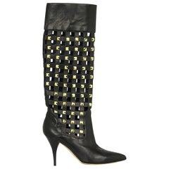 New OSCAR de la RENTA Studded Black Leather Boots