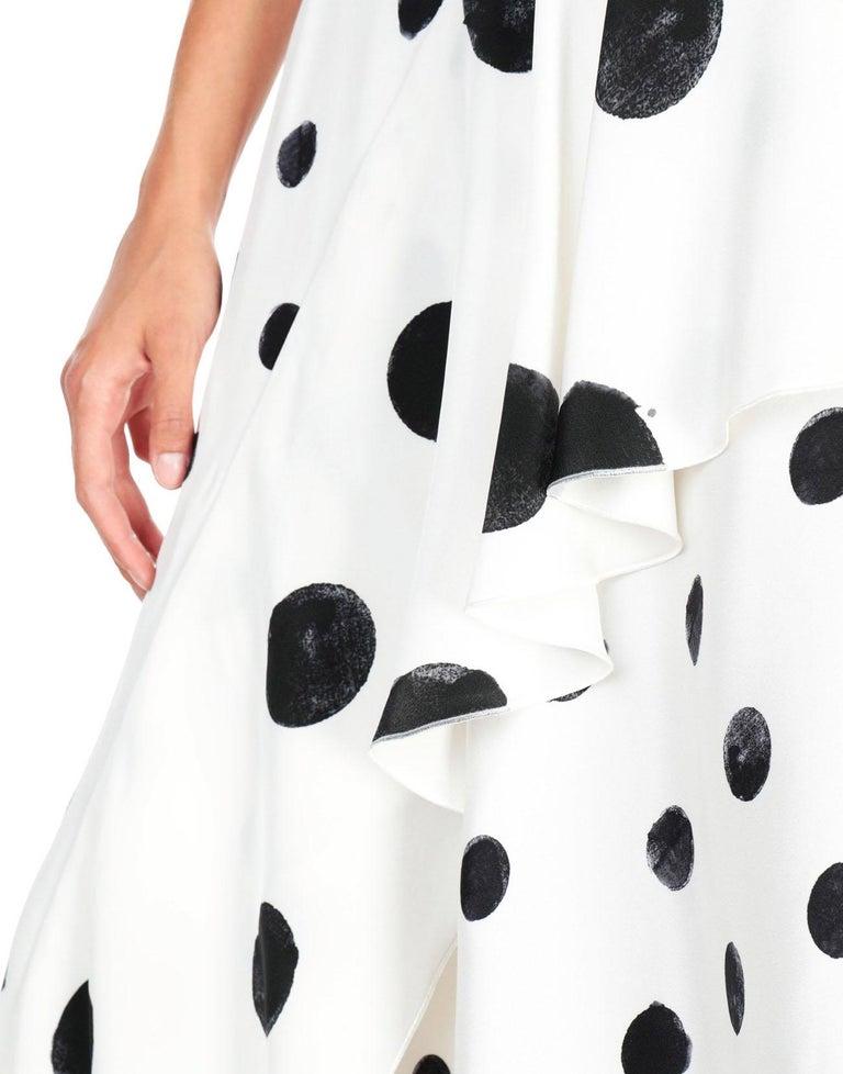 New Oscar De La Renta White Polka Dot Silk Crepe Tiered Skirt Dress Gown size 4 For Sale 6