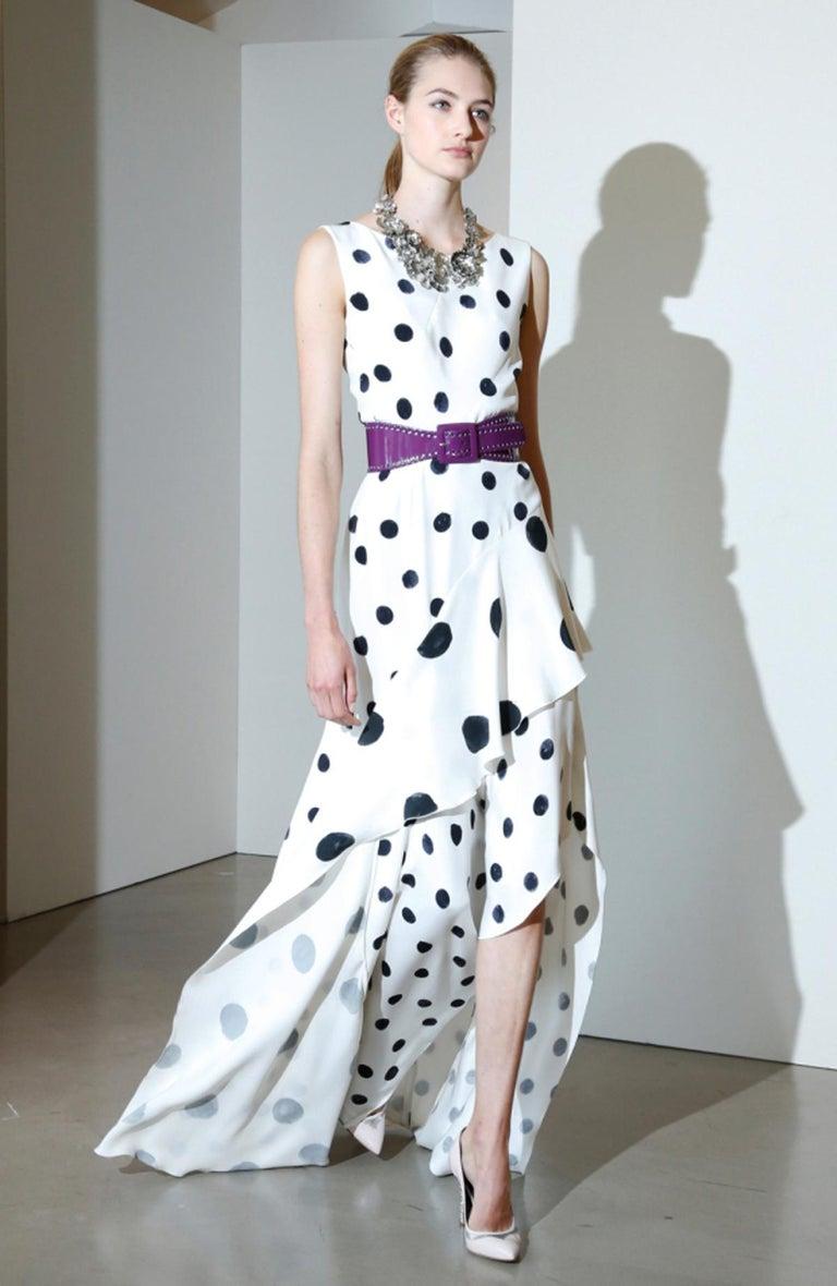 New Oscar De La Renta Silk Ruffle White and Black Polka Dot Dress Gown Designer size 4 Designer Style ID: R17N027 100% Silk, White and Black, Cascading Ruffle Front, Asymmetrical Hem, Fully Lined, Hidden Back Zip. Measurements: Bust - 34 inches,