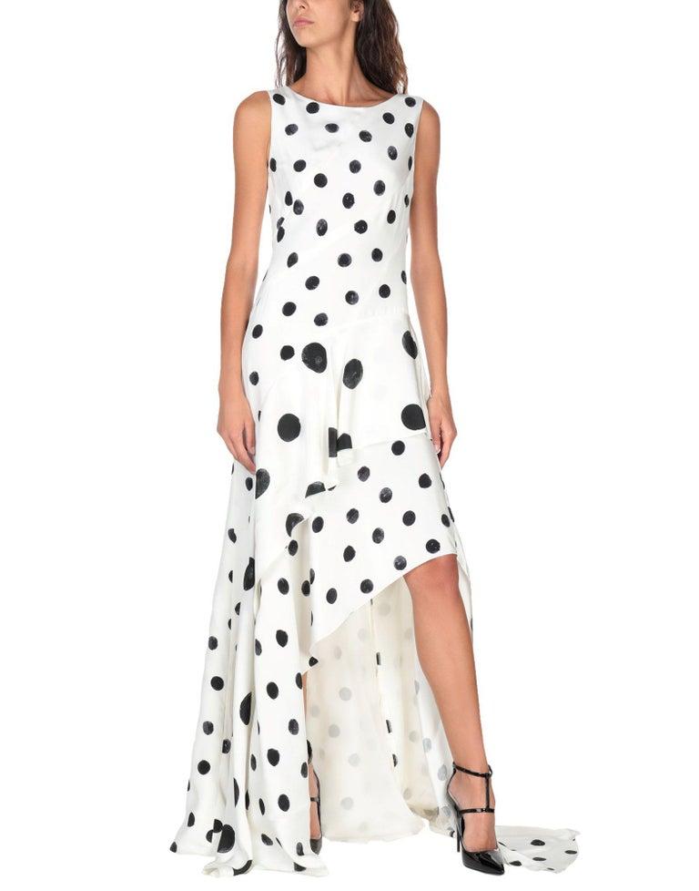 Women's New Oscar De La Renta White Polka Dot Silk Crepe Tiered Skirt Dress Gown size 4 For Sale