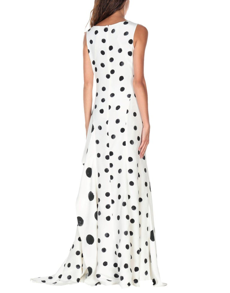 New Oscar De La Renta White Polka Dot Silk Crepe Tiered Skirt Dress Gown size 4 For Sale 1