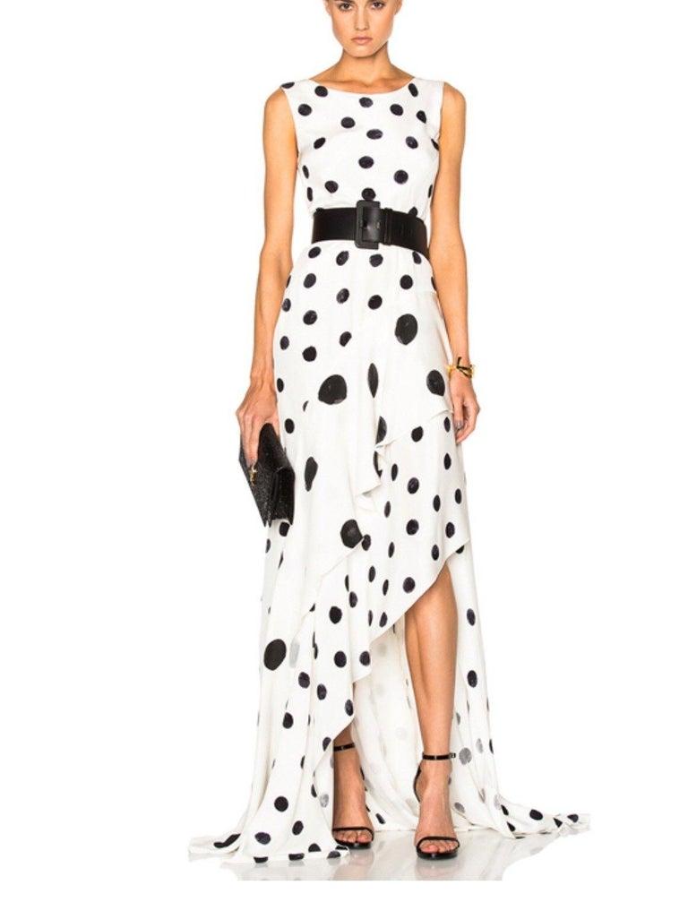 New Oscar De La Renta White Polka Dot Silk Crepe Tiered Skirt Dress Gown size 4 For Sale 2