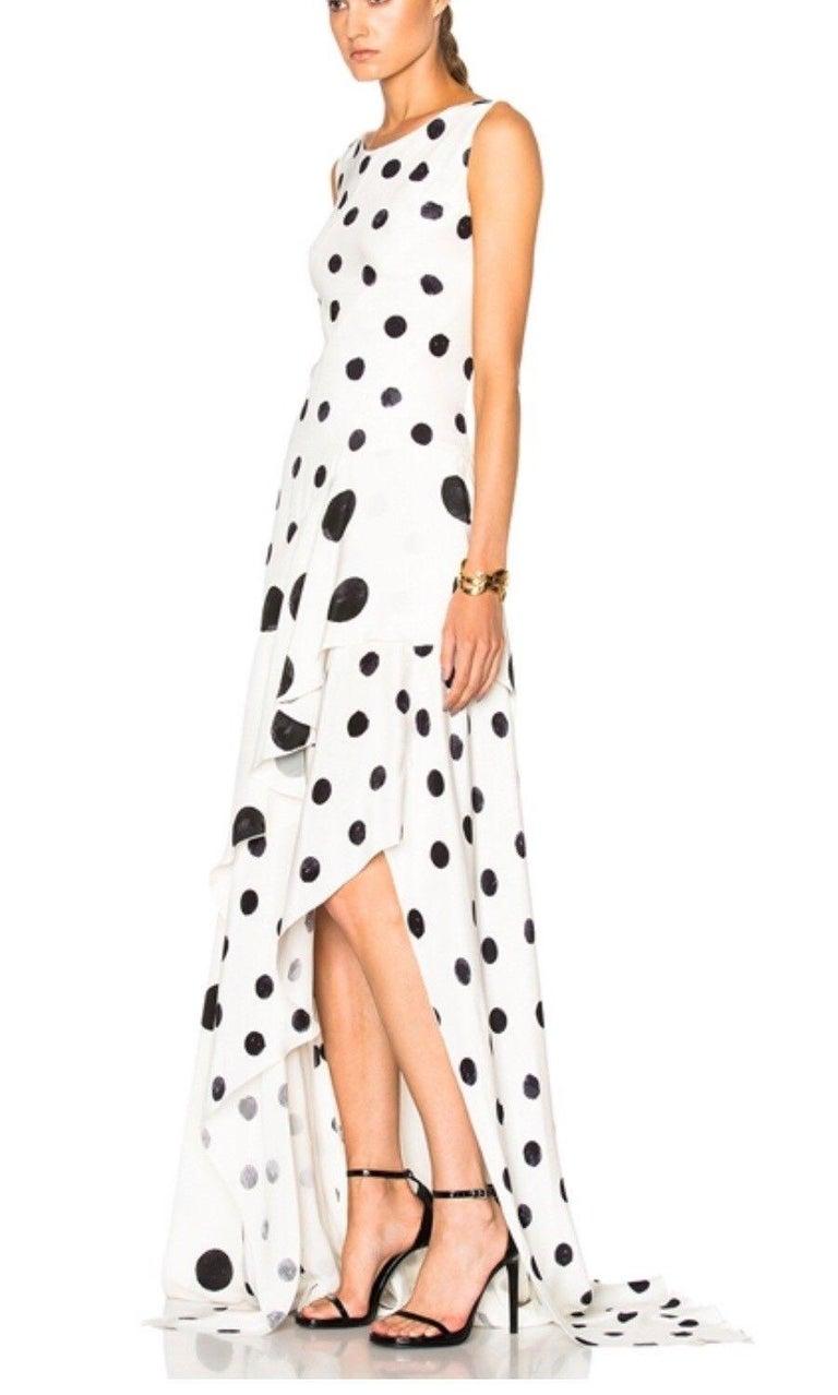 New Oscar De La Renta White Polka Dot Silk Crepe Tiered Skirt Dress Gown size 4 For Sale 3