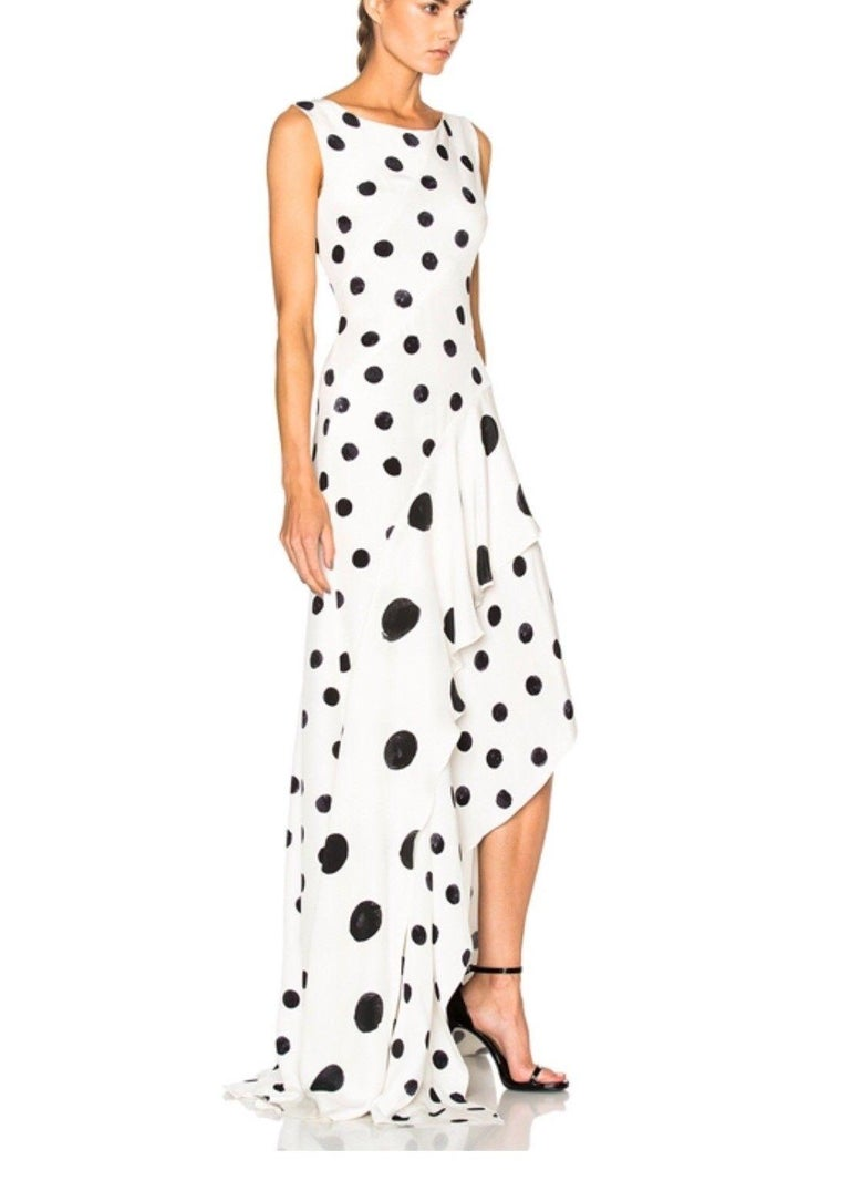 New Oscar De La Renta White Polka Dot Silk Crepe Tiered Skirt Dress Gown size 4 For Sale 4