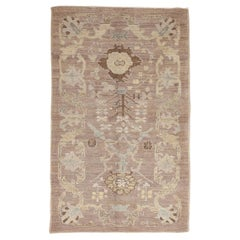 New Oushak Design Persian Rug with Blue and Beige Floral Details
